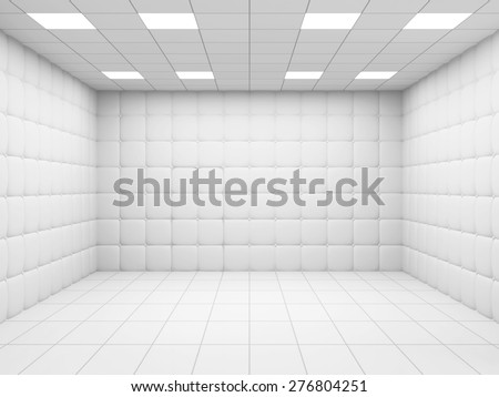 White Mental Hospital Room Interior. 3D Rendering - stock photo