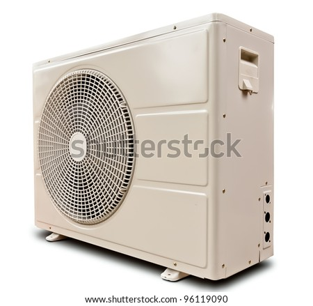White metal air compressor tilted left isolated on white background - stock photo