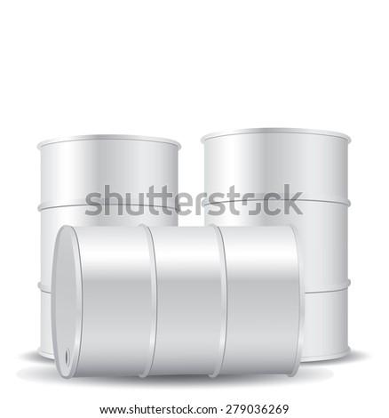 White metal barrel isolated on white - stock photo