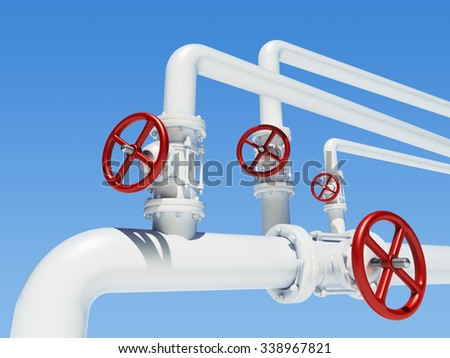 white metal pipeline with red valves on blue sky background - stock photo