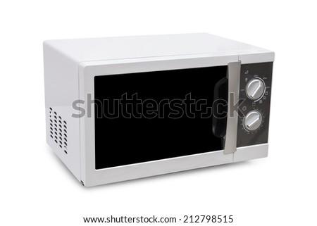 white Microwave on white background  - stock photo
