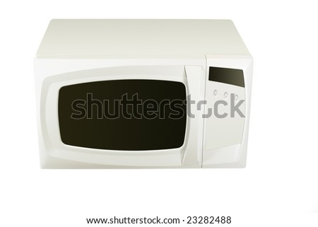 White microwave under the light background - stock photo