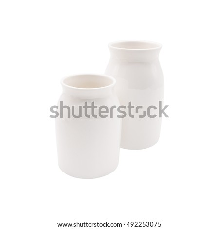 White milk cup on isolated background with clipping path.