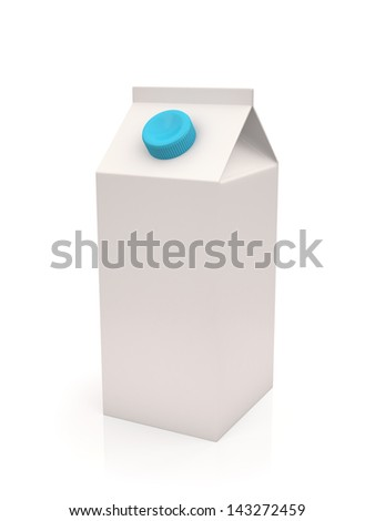 White milk or juice carton box isolated on a white background , Three-dimensional shape - stock photo