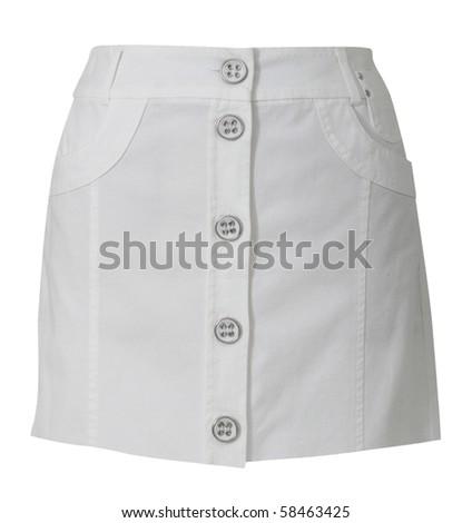 white mini skirt - stock photo