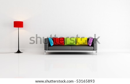 white minimalist living room with black couch with colored cushion - rendering - stock photo