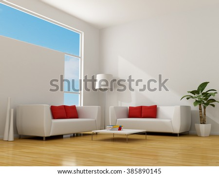 white minimalist lounge with two contemporary sofa with red pillow - 3D rendering