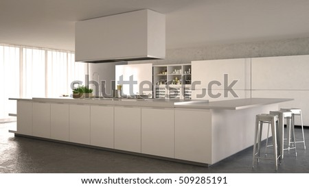 White minimalistic kitchen, interior design, 3d illustration
