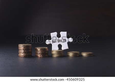 White missing puzzle and gold coins with part time job word ,copyspace area - stock photo