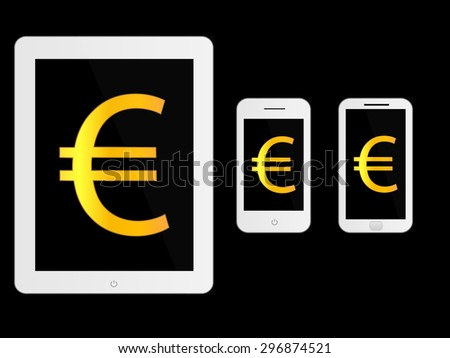 White Mobile Devices with Euro Sign - stock photo