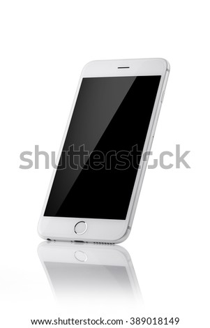white mobile phone with black screen, reflection isolated white. - stock photo