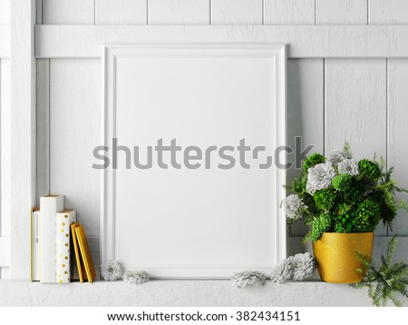 white mock up frame, hipster background, 3d rendering - stock photo