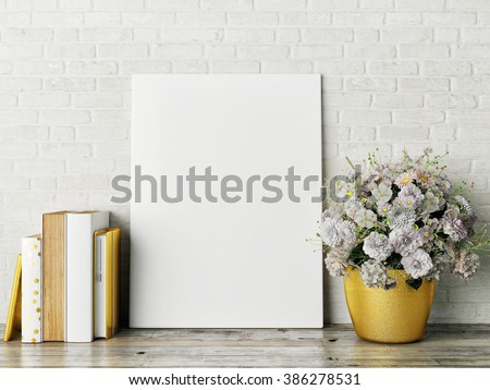 white mock up frame, hipster background, 3d rendering - stock photo