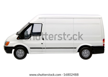 White model van, side view with blank panels to add your own branding, isolated on a white background with clipping path provided. - stock photo