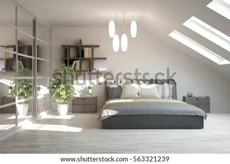 Superieur White Modern Bedroom. Scandinavian Interior Design. 3D Illustration