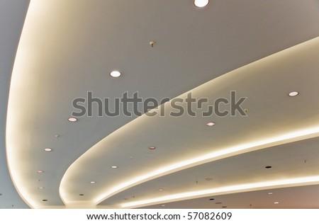 White modern ceiling - stock photo