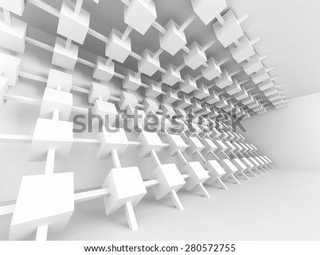 White Modern Empty Design Interior Background. 3d Render Illustration - stock photo