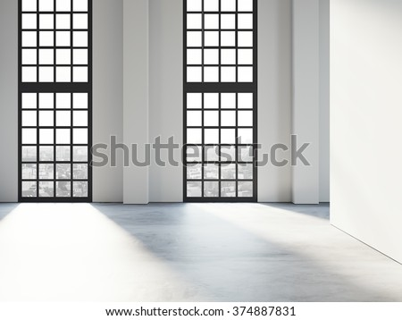 White modern empty space with big black windows and concrete floor. 3d rendering