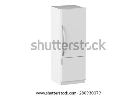white modern fridge isolated on white background - stock photo