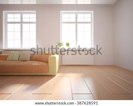 white modern interior design- 3d illustration - stock photo