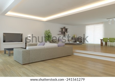 white modern interior design-3D rendering - stock photo