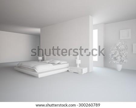 white modern interior design for bedroom - 3D rendering - stock photo