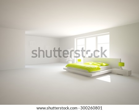 white modern interior design for bedroom - 3D rendering - stock photo