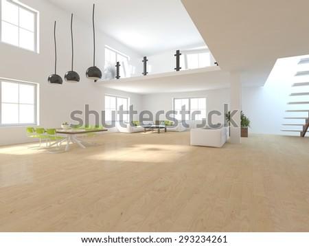 white modern interior design for house - stock photo