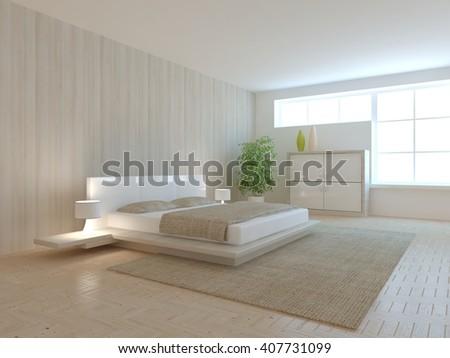 white modern interior design of bedroom -3D rendering - stock photo