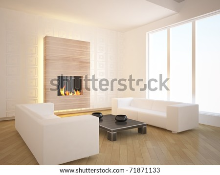 white modern interior design with fire - stock photo