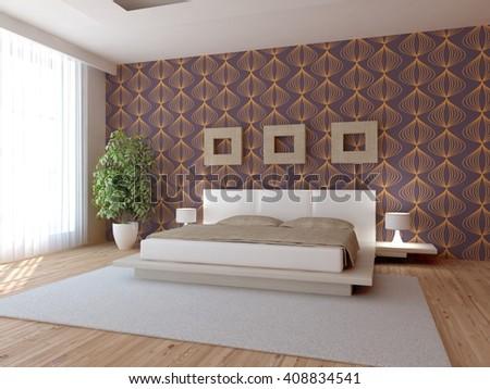 white modern interior of bedroom -3D illustration - stock photo