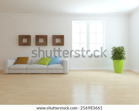 white modern interior of living room-3D rendering - stock photo