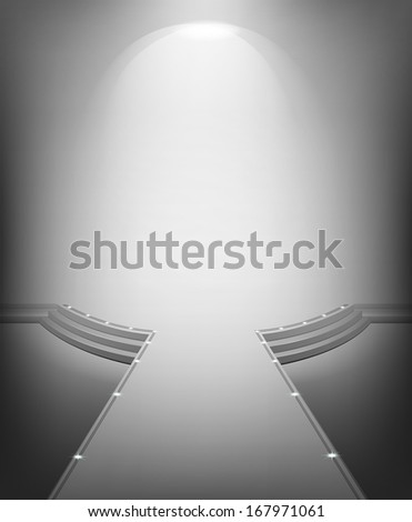 White modern interior with a stage and podium. Raster copy