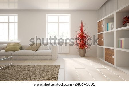 white modern interior with classic windows and white furniture-3D rendering - stock photo