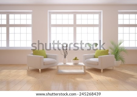 white modern interior with classic windows-3D rendering - stock photo