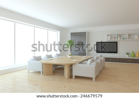 white modern interior with panoramic windows and dinner table-3D rendering - stock photo
