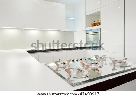 White modern kitchen - stock photo