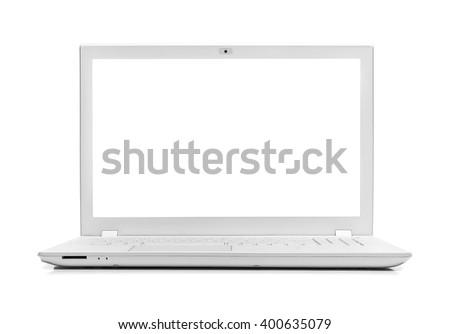 White modern laptop isolated on white background. - stock photo