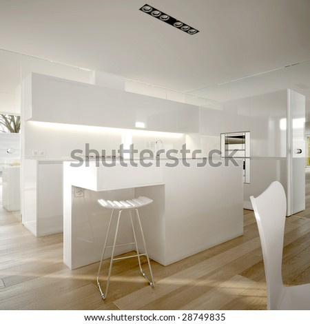 White modern minimalist kitchen (3D render)