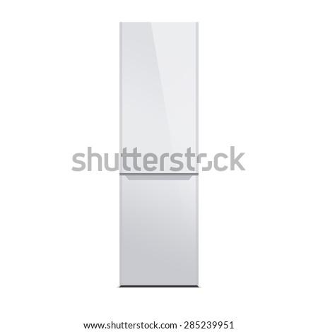 White modern refrigerator isolated on white. Glossy finish. - stock photo