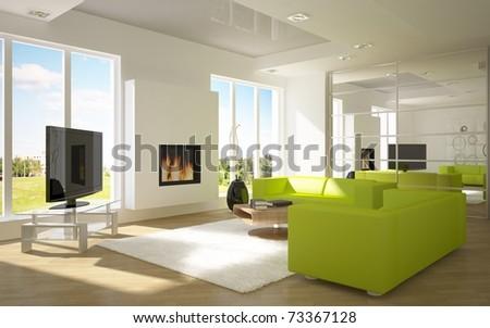 white modern room - stock photo