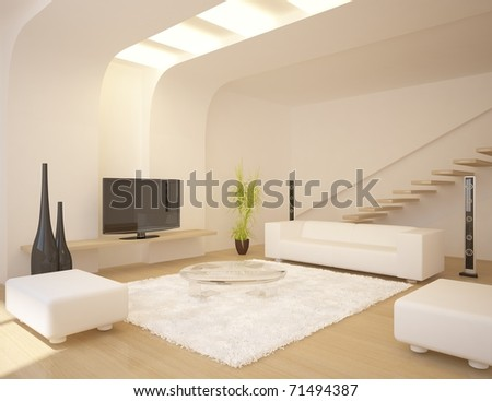white modern room with furniture - stock photo