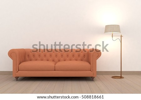 White modern room with sofa. Scandinavian interior. 3D illustration