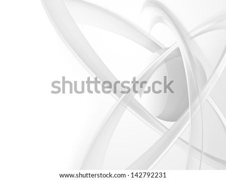 white modern science background with an atom - stock photo