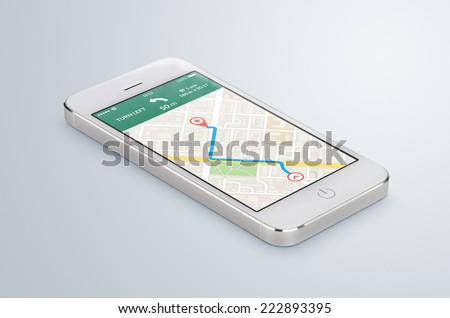 White modern smartphone with map gps navigation application with planned route on the screen lies on the gray surface. High quality. - stock photo