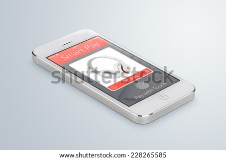 White modern smartphone with nfc smart pay application on the screen lies on the gray surface. The concept of purchase of headphones by fingerprint scanning. High quality. - stock photo