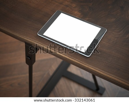 White modern tablet at the corner of table. 3d rendering - stock photo