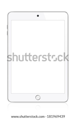 White modern tablet illustration. Perfectly detailed. Isolated on white background - stock photo