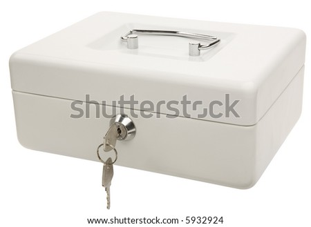 White Money Box - isolated on white - stock photo