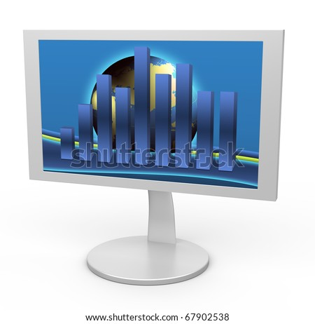 White monitor with a graph in the background Globe. Isolated white background.